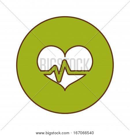 Green heard cardiology medical button image, vector illustration