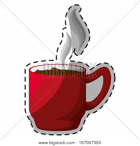 Red coffee cuppa with steam design, vector illustration
