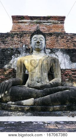 Historical Park Wat Mahathat Temple Bhudda Statue Vertical