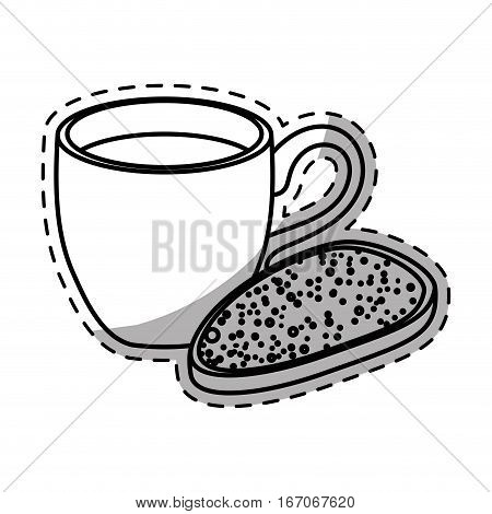 Figure coffee cup with bread icon image, vector illustration