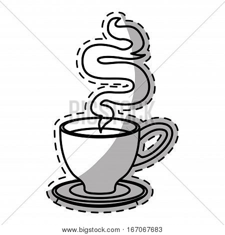 Figure small cup with steam design icon, vector illustration
