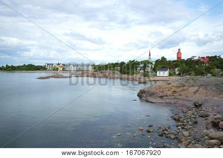 The coast of the Gulf of Finland in the city of Hanko in the cloudy June afternoon. Finland