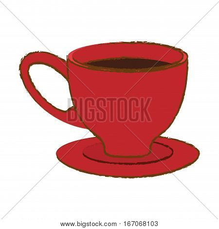 Red small coffee cup and saucer, vector illustration