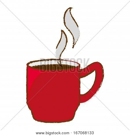 Color coffee cuppa with steam design, vector illustration