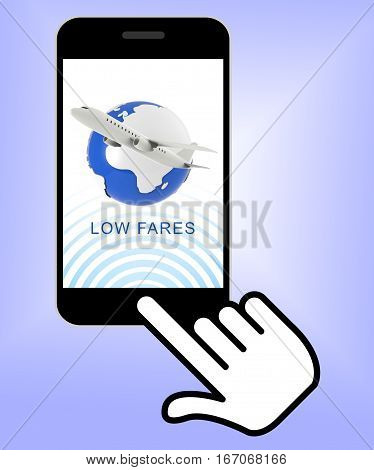 Low Fares Showing Discount Airfare 3D Rendering