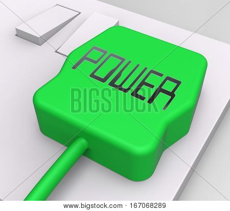 Power Plug Shows Electric Power 3D Rendering