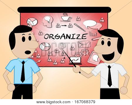 Organize Icons Shows Sign Arranged 3D Illustration
