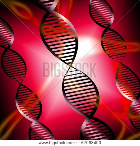 Dna Helix Shows Genetic Research 3D Illustration
