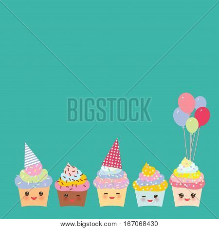 Happy Birthday Card design with Cupcake Kawaii funny muzzle with pink cheeks and winking eyes pastel colors on blue background. Vector illustration