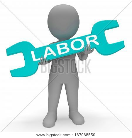Labor Spanner Shows Working Hard 3D Rendering
