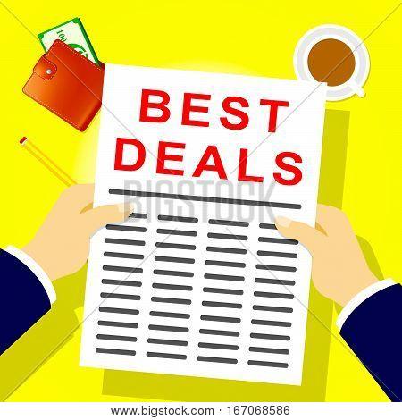 Best Deals Indicates Promotional Closeout 3D Illustration