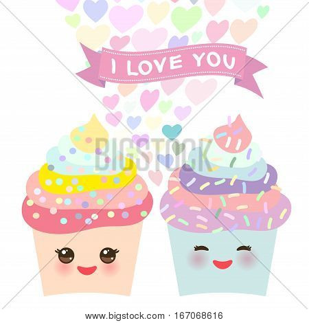 I love you Card design with Cupcake Kawaii funny muzzle with pink cheeks pastel colors on white background. Vector illustration