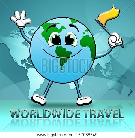 Worldwide Travel Indicates Touring Roam 3D Illustration