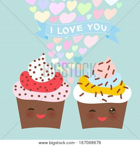 I love you Card design with chocolate Cupcake Kawaii funny muzzle with pink cheeks and winking eyes pastel colors on light blue background. Vector illustration