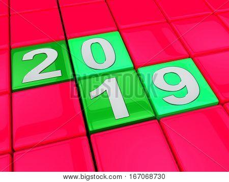 Twenty Nineteen Shows 2019 New Year 3D Illustration