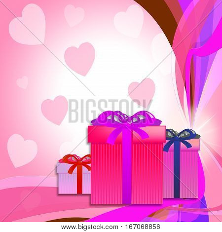 Heart Giftboxes Represents Celebrations Celebrate And Parties
