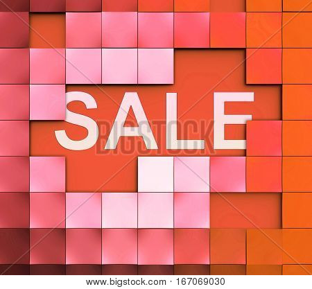 Sale Word Represents Bargain Offers 3D Illustration