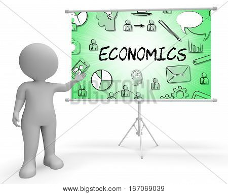 Economics Icons Shows Fiscal Economizing 3D Rendering