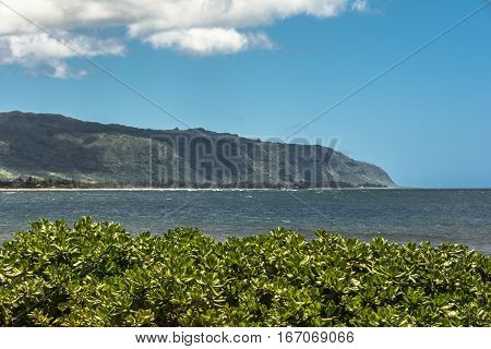 View of the coast along North Shore in Oahu, Hawaii