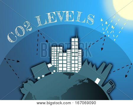 Co2 Levels Shows Global Warming 3D Illustration