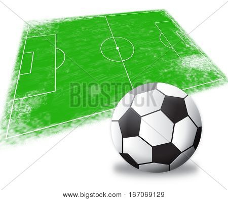Soccer Field Shows Football Game 3D Illustration