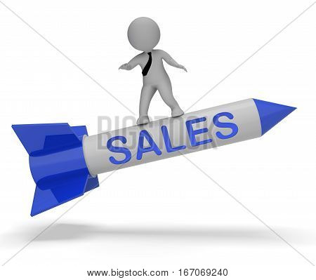 Sales Rocket Indicates E-commerce Retail 3D Rendering