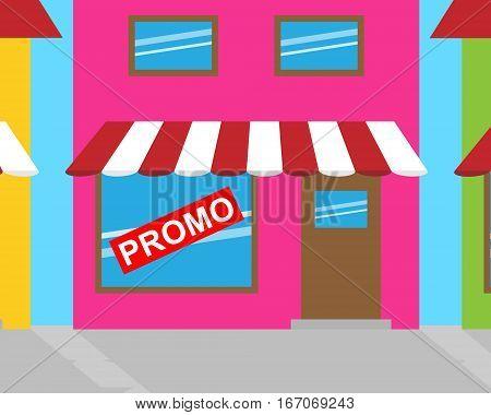 Promotion Sign Represents Online Sale 3D Illustration
