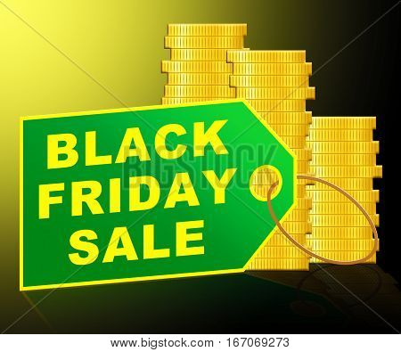 Black Friday Sale Shows Thanksgiving Discounts 3D Illustration