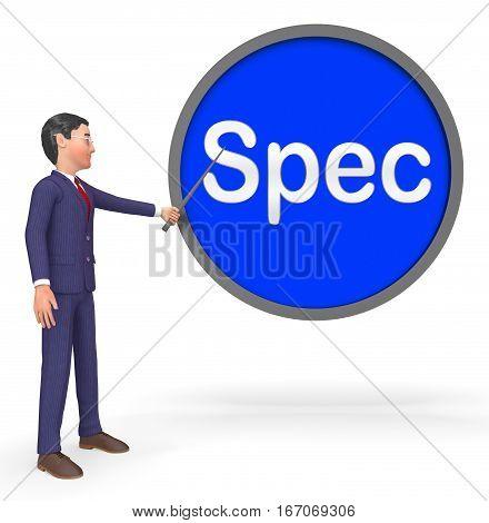 Spec Sign Meaning Details Digital 3D Rendering
