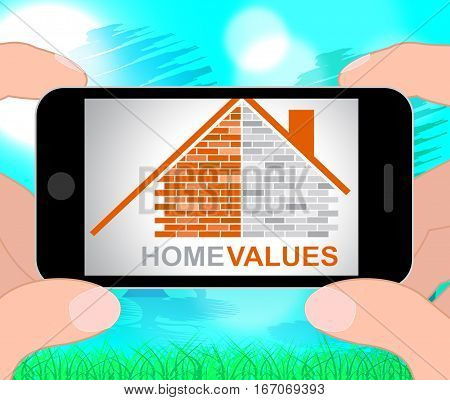 Home Values Represents Selling Price 3D Illustration