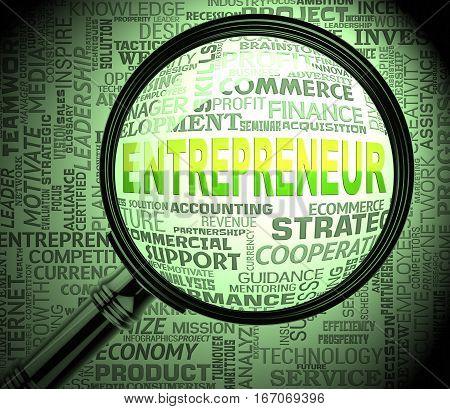 Entrepreneur Magnifier Means Business Person 3D Rendering