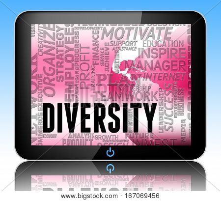 Diversity Words Indicates Mixed Bag 3D Illustration