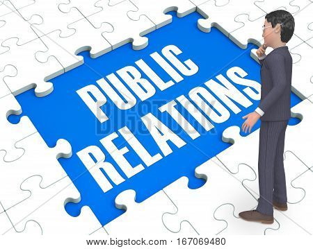 Public Relations Puzzle Shows Publicity 3D Rendering