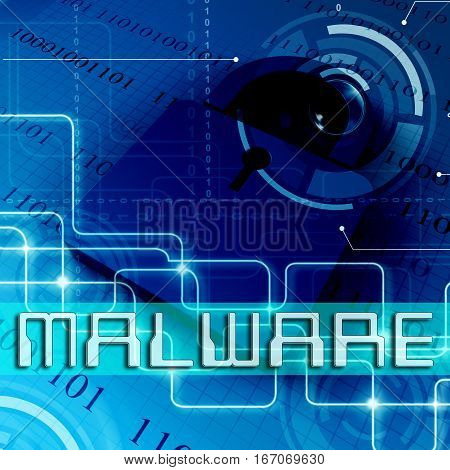 Malware Padlock Shows Spyware Infection 3D Rendering