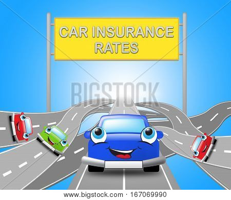 Car Insurance Rates Shows Policy 3D Illustration