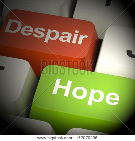 Despair Or Hope Computer Keys 3D Rendering