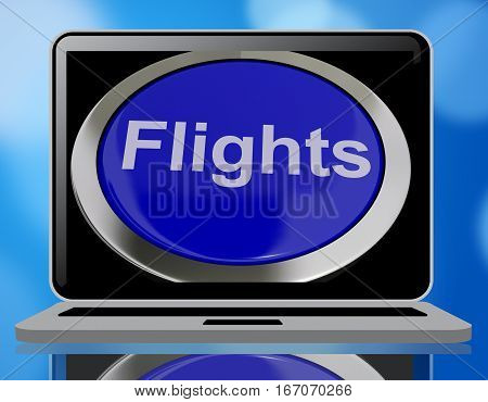 Flights Button In Blue For Overseas Vacation 3D Rendering