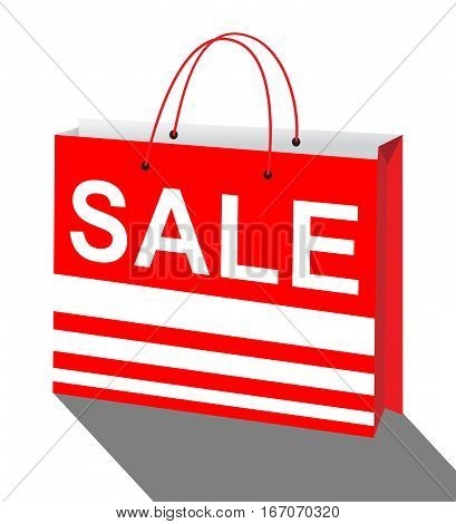 Sale Bag Represents Bargain Offers 3D Illustration
