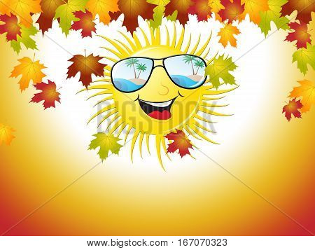 Sunny Afternoon In Autumn Shows Leaves Falling