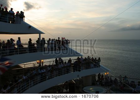People On The Aft Decks Of A Cruise Ship