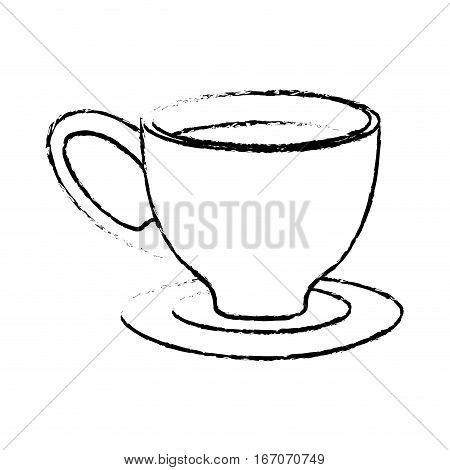 Contour small coffee cup and saucer, vector illustration