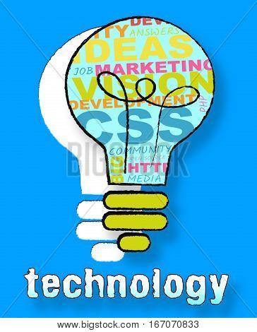 Technology Lightbulb Means High Tech 3D Illustration