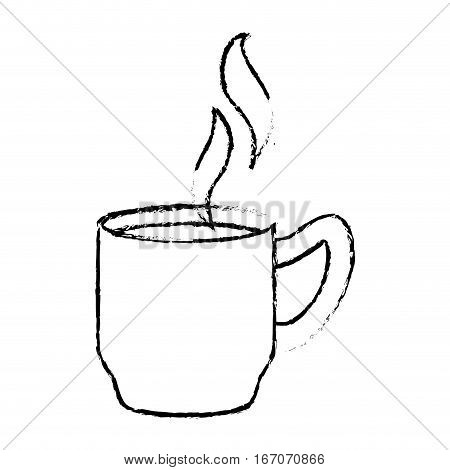 Contour coffee cuppa with steam design, vector illustration