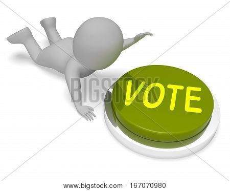 Vote Button Shows Poll Voting 3D Rendering