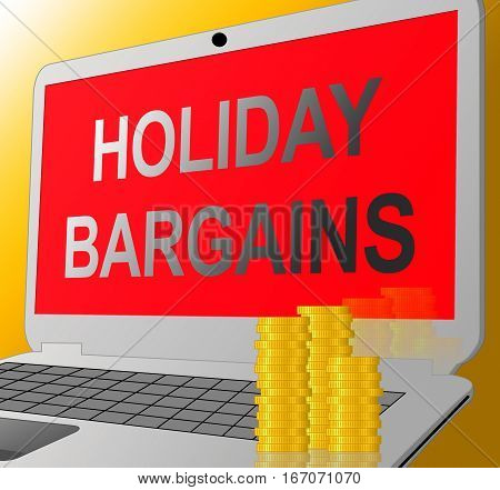 Holiday Bargains Represents Vacation Discounts 3D Illustration
