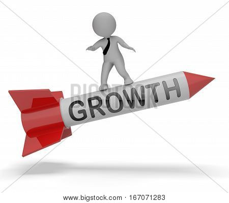 Growth Rocket Means Wordclouds Rise 3D Rendering