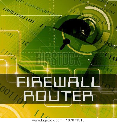 Firewall Router Shows Computer Defence 3D Rendering