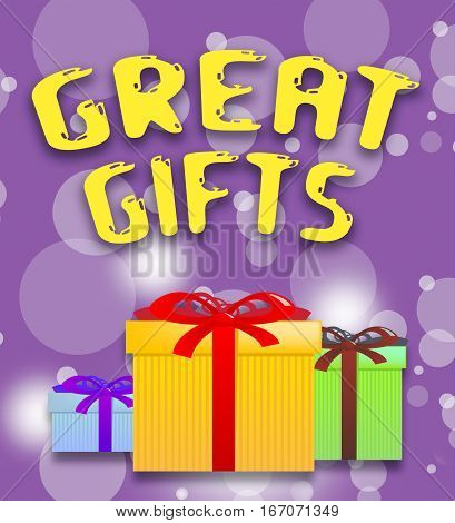 Great Gifts Shows Cool Giftboxes 3D Illustration