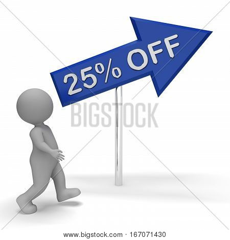 Twenty Five Percent Off Shows 25% 3D Rendering