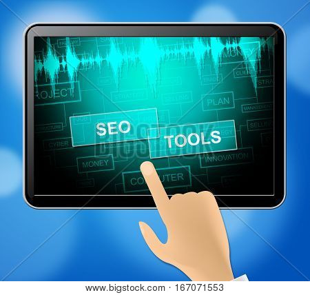 Seo Tools Represents Search Engine Optimization 3D Illustration